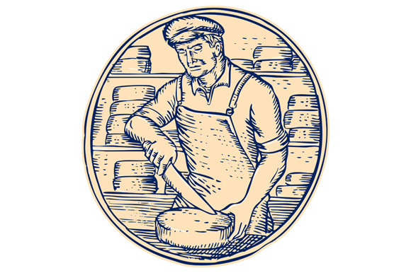 Cheesemaker Cutting Cheddar Cheese E