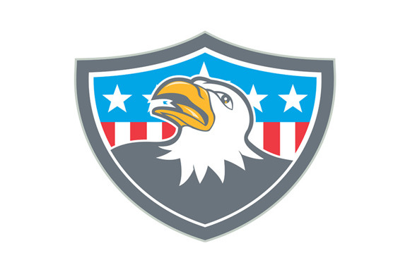 American Bald Eagle Head Flag Shield
