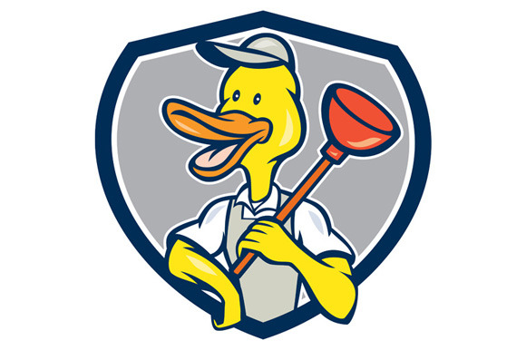 Duck Plumber Holding Plunger Shield