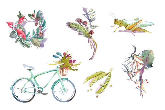 Spring Watercolor Clipart Set