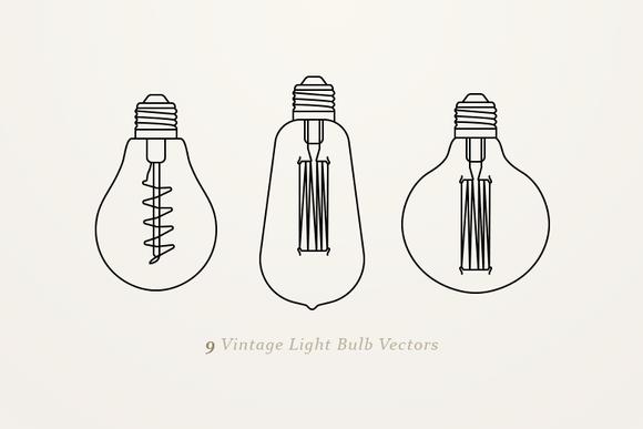 9 Vintage Light Bulb Vectors