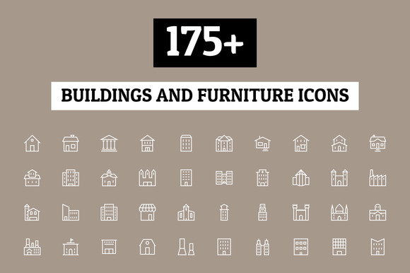 175 Buildings And Furniture Icons