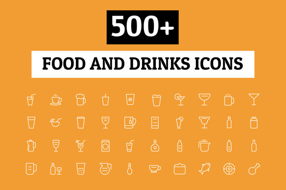 500 Food And Drinks Icons