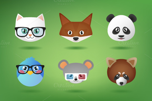 Cute Animal Head Vector Set