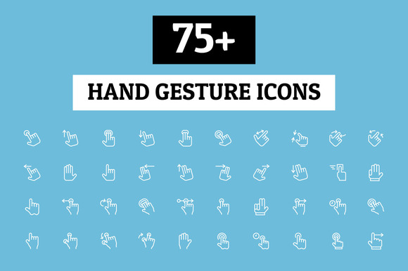75 Hand Gesture Icons