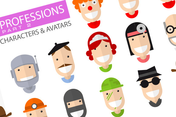 Happy Professions Character Icons 2