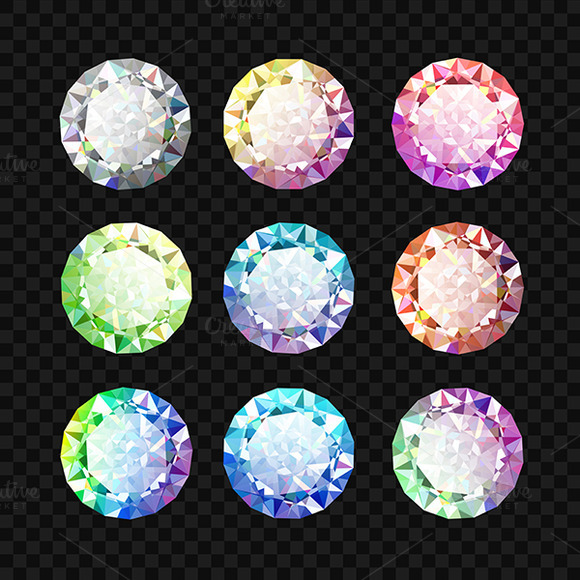 Set Of Colored Gems Jewel Set