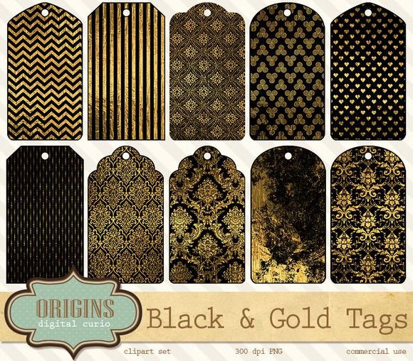 Black And Gold Gift Tags