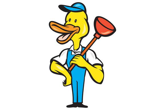 Duck Plumber Plunger Standing Cartoo
