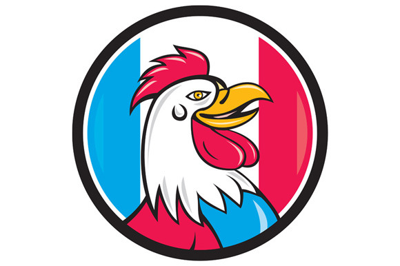 French Rooster Head France Flag Circ