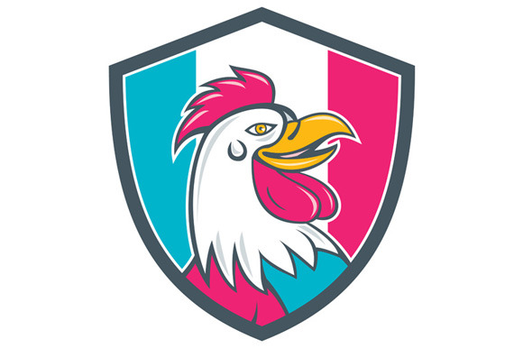 French Rooster Head France Flag Shie