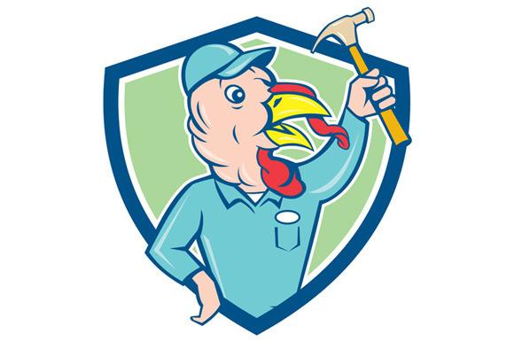 Turkey Builder Hammer Shield Cartoon