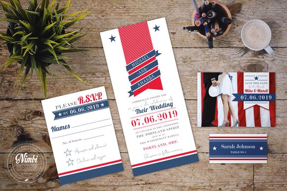 Patriotic Wedding Invitation Suite