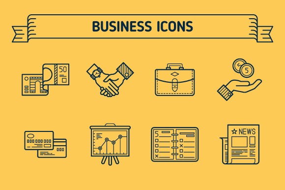 Business Outline Colored Icons