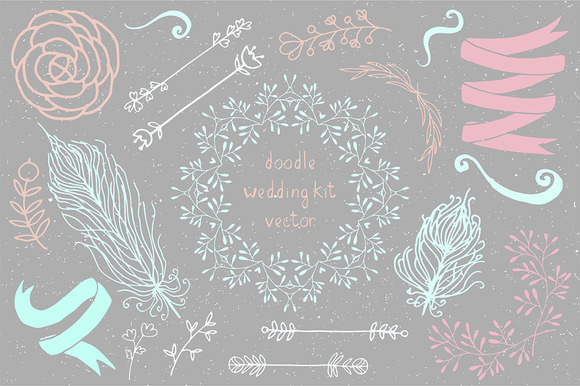 Hand Draw Doodle Boho Wedding Kit