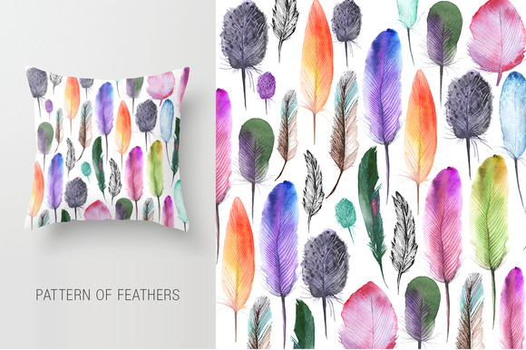 Watercolor Bird Feathers Flowers