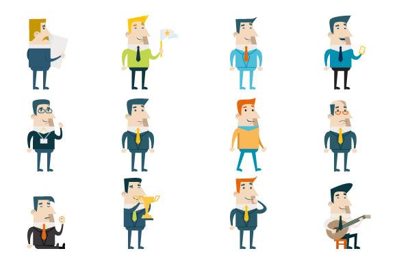 Flat Businessman Cartoon Characters