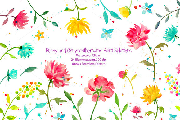 Watercolor Peony Chrysanthemum