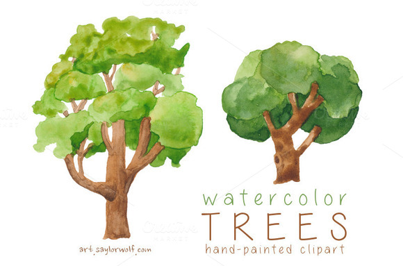 Watercolor Trees Forest Clip Art