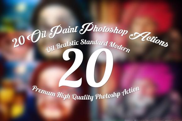 20 Oil Paint Photoshop Actions