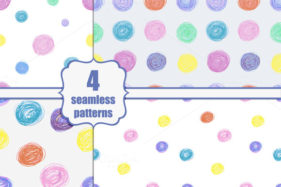 Four Hand-drawn Seamless Patterns