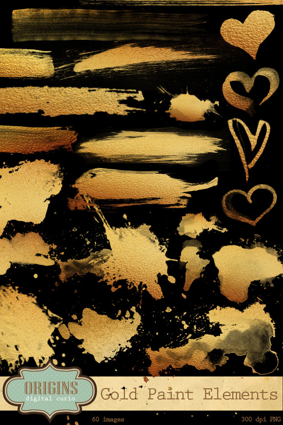 Gold Paint Strokes Clipart
