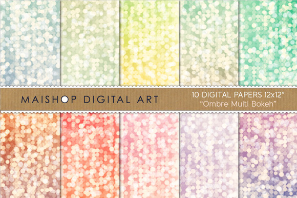 Digital Paper Ombre Multi Bokeh