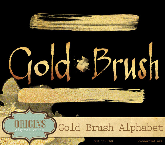Gold Brush Alphabet Clipart