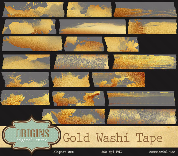 Gold Paint Digital Washi Tape