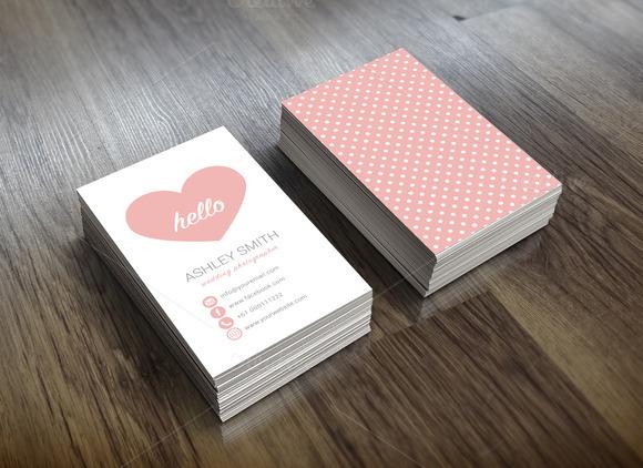 Cute Business Card Heart Polka Dots