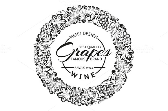 Grapes Design For Wine Menu
