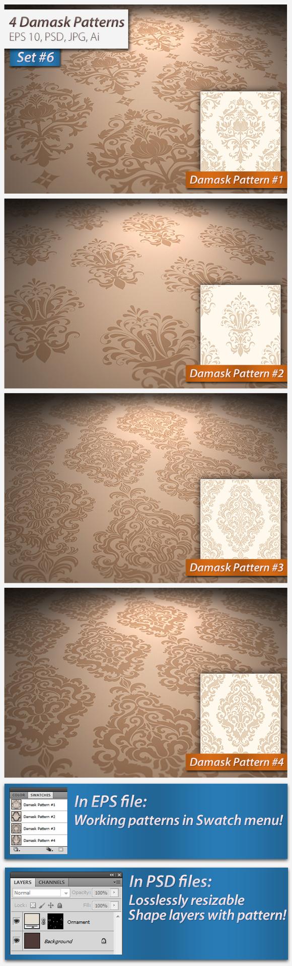 4 Seamless Damask Patterns Set#6
