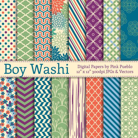 Boy Washi Digital Papers