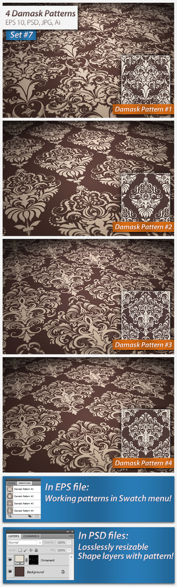 4 Seamless Damask Patterns Set#7