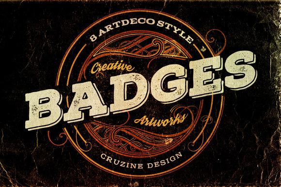 8 Artdeco Style Badges
