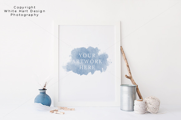 Wall Art Frame Mock Up PSD JPG