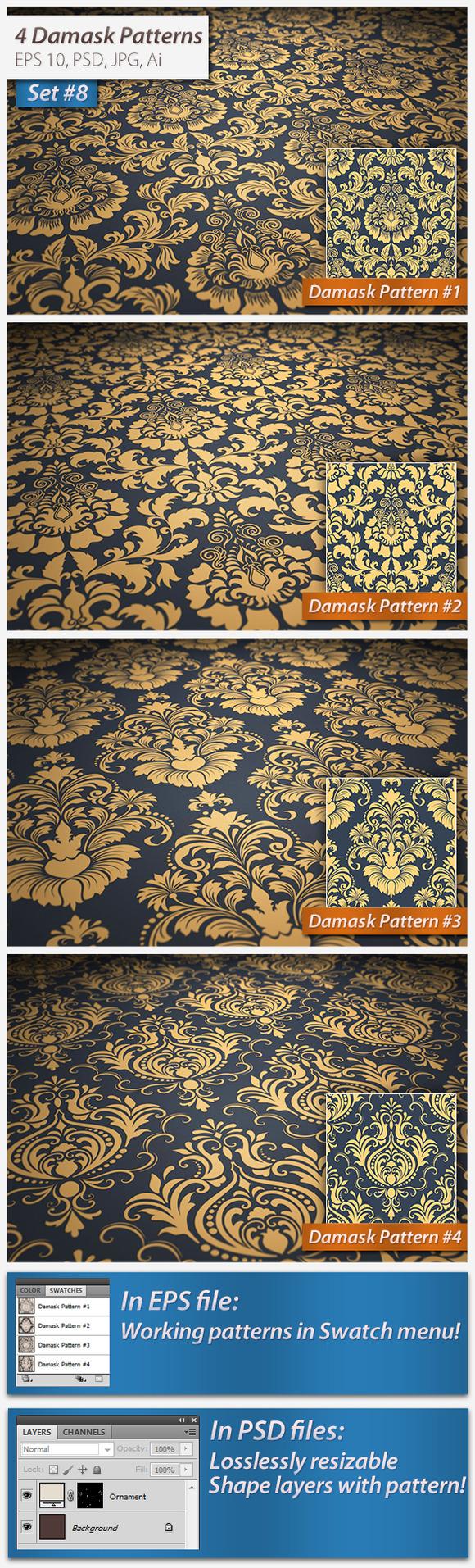 4 Seamless Damask Patterns Set#8
