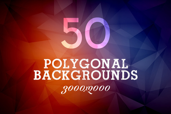 50 Polygonal Colourful Backgrounds