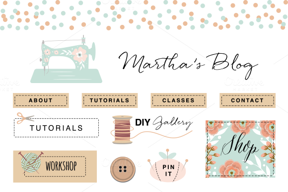 Craft Blog Kit Elements EPS PNG