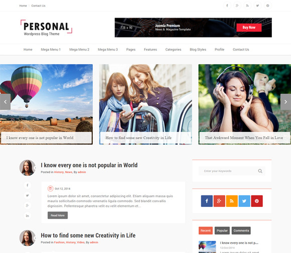 Personal Best Blog Wordpress Theme