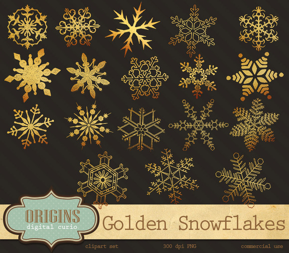 Golden Snowflakes Clipart