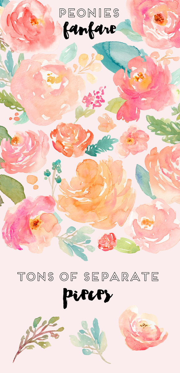 Peonies Fanfare- Watercolor Clip Art