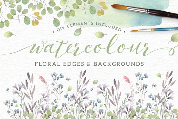 Watercolor Floral Edges Backgrounds