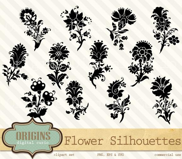 Flower Motif Silhouette Clipart