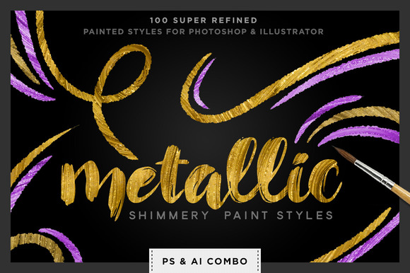 Shimmery Metallic Paint Styles Ps Ai