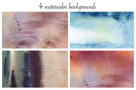 4 Watercolor Painted Background