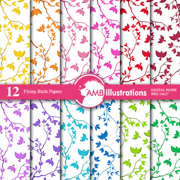 Flying Birds Digital Papers AMB-847