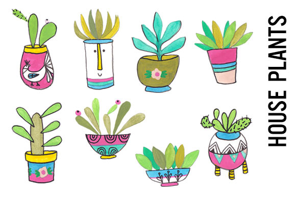 House Plants Bright Watercolor