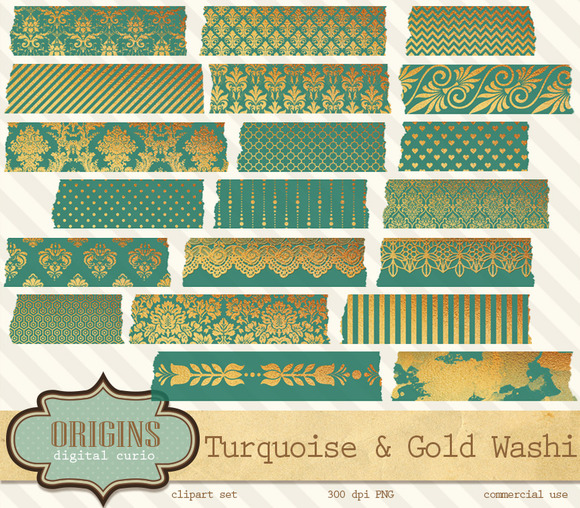 Teal And Gold Digital Washi Tape