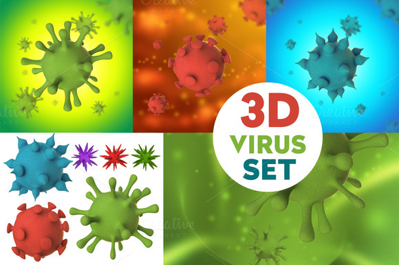 Virus Bacteria Cell 3D Set